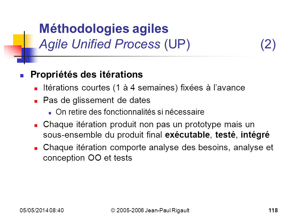 Méthodologies agiles Agile Unified Process (UP) (2)