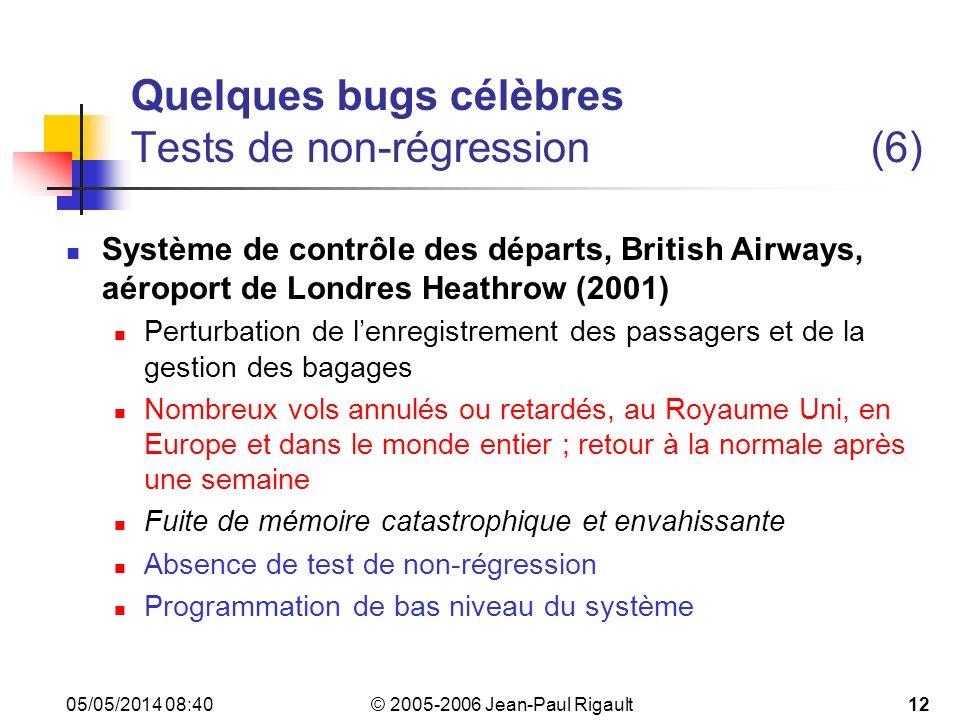 Quelques bugs célèbres Tests de non-régression (6)