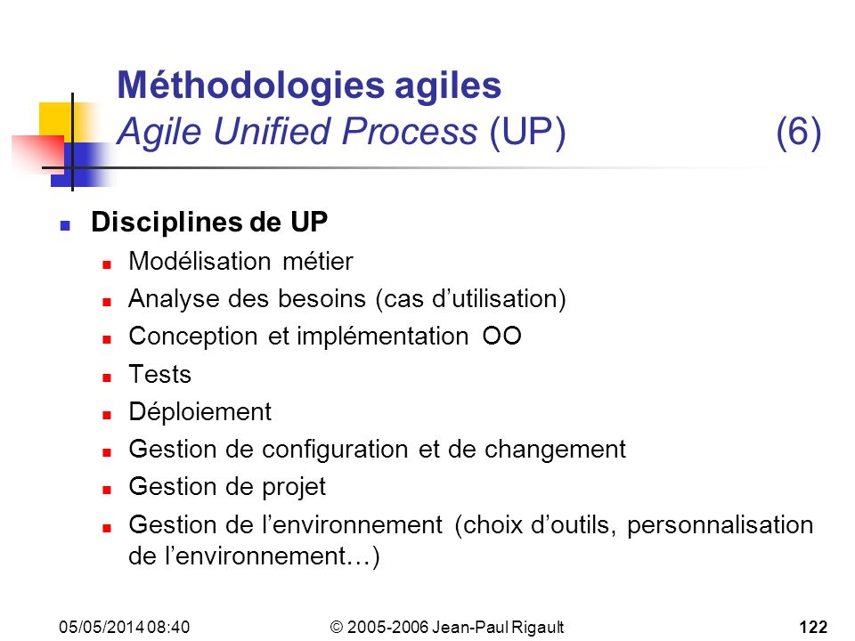Méthodologies agiles Agile Unified Process (UP) (6)