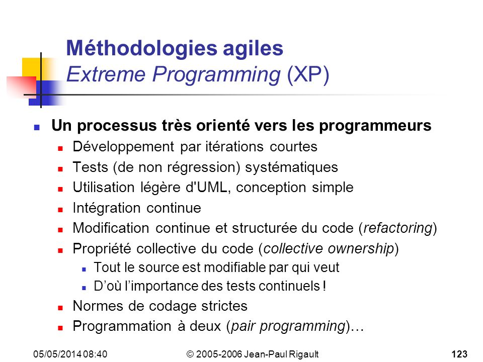 Méthodologies agiles Extreme Programming (XP)