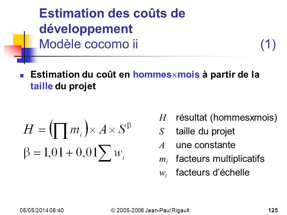 Estimation des coûts de développement Modèle cocomo ii (1)