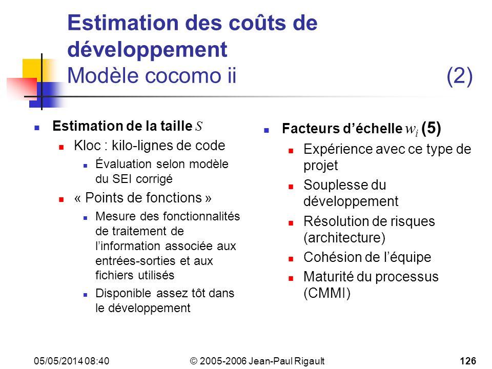 Estimation des coûts de développement Modèle cocomo ii (2)