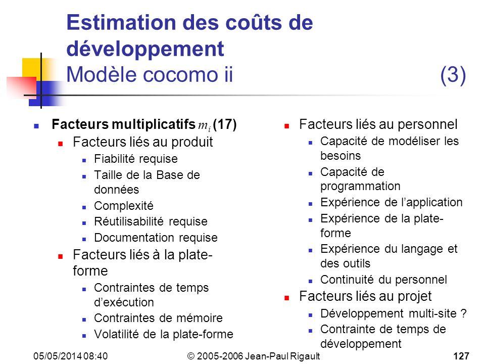 Estimation des coûts de développement Modèle cocomo ii (3)