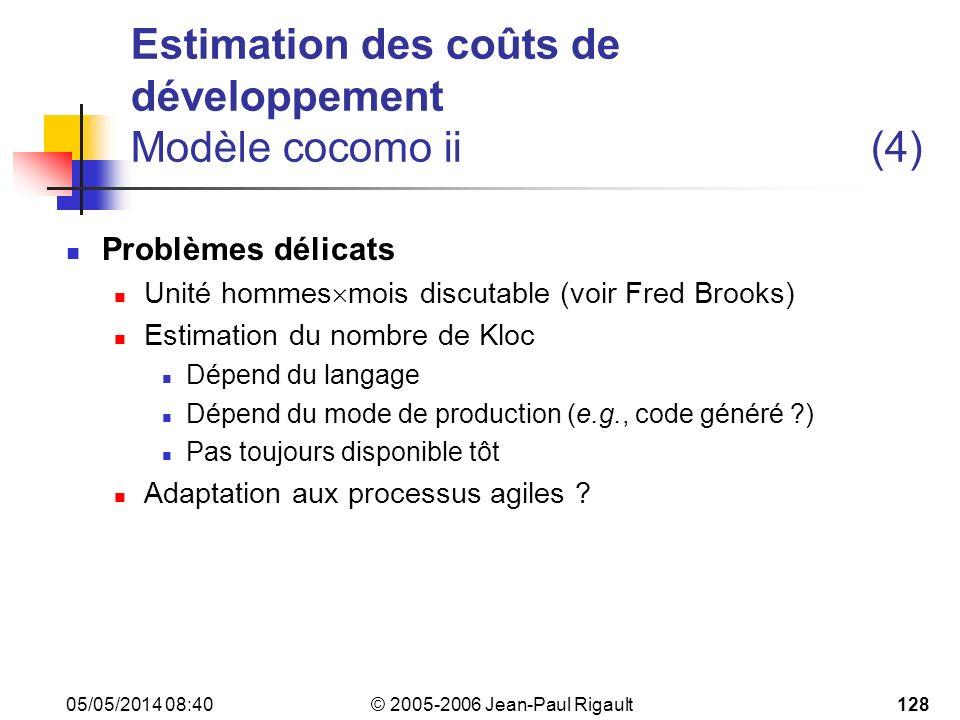 Estimation des coûts de développement Modèle cocomo ii (4)