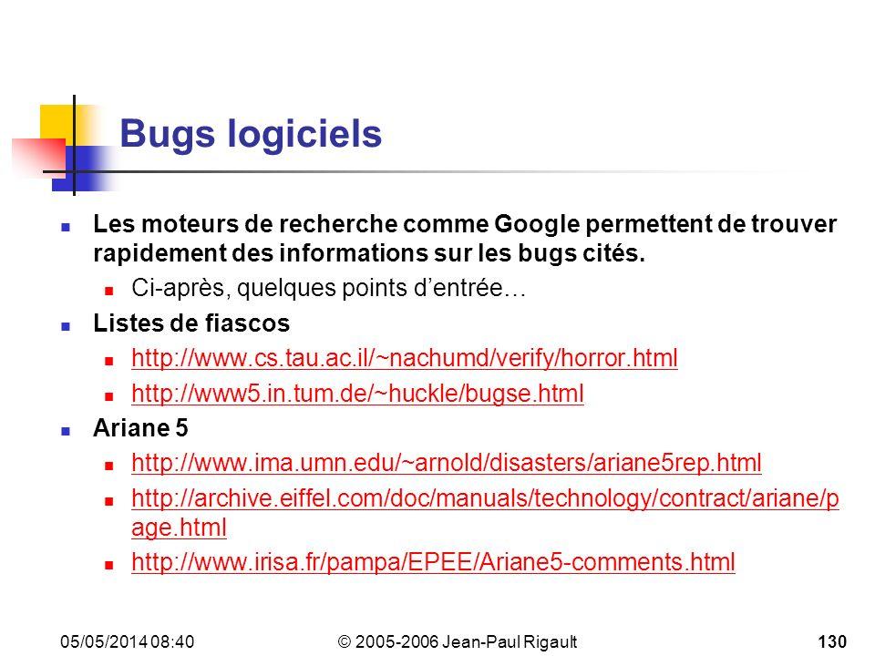Bugs logiciels Les moteurs de recherche comme Google permettent de trouver rapidement des informations sur les bugs cités.