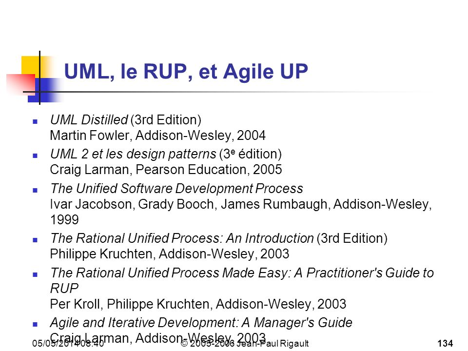UML, le RUP, et Agile UP UML Distilled (3rd Edition) Martin Fowler, Addison-Wesley, 2004.
