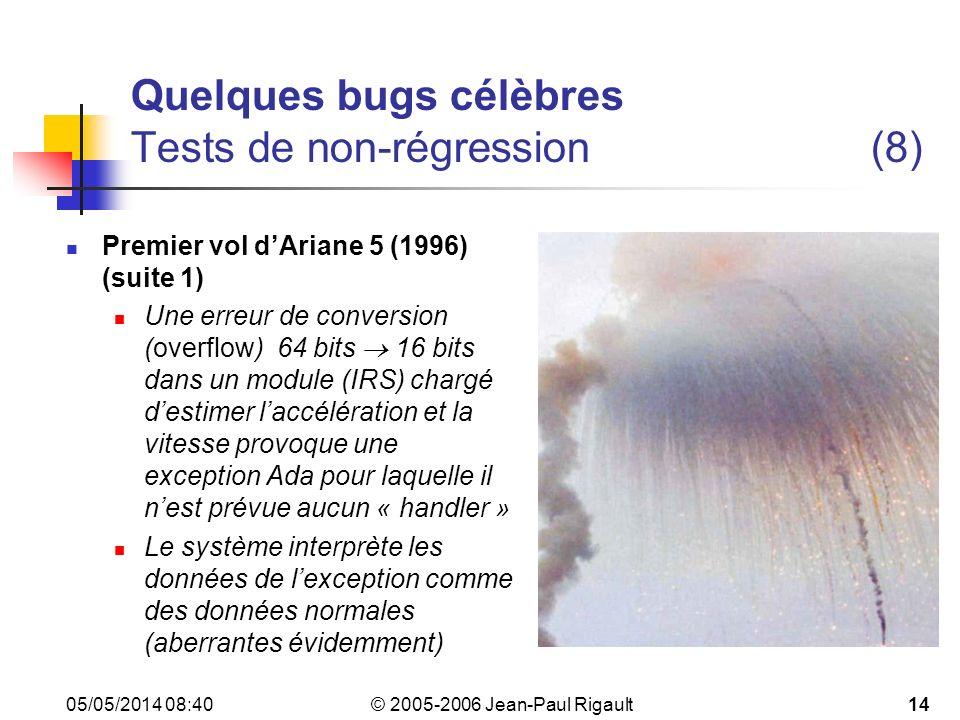 Quelques bugs célèbres Tests de non-régression (8)