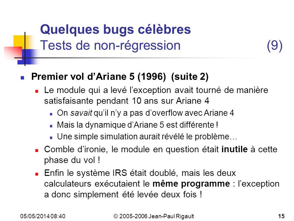 Quelques bugs célèbres Tests de non-régression (9)