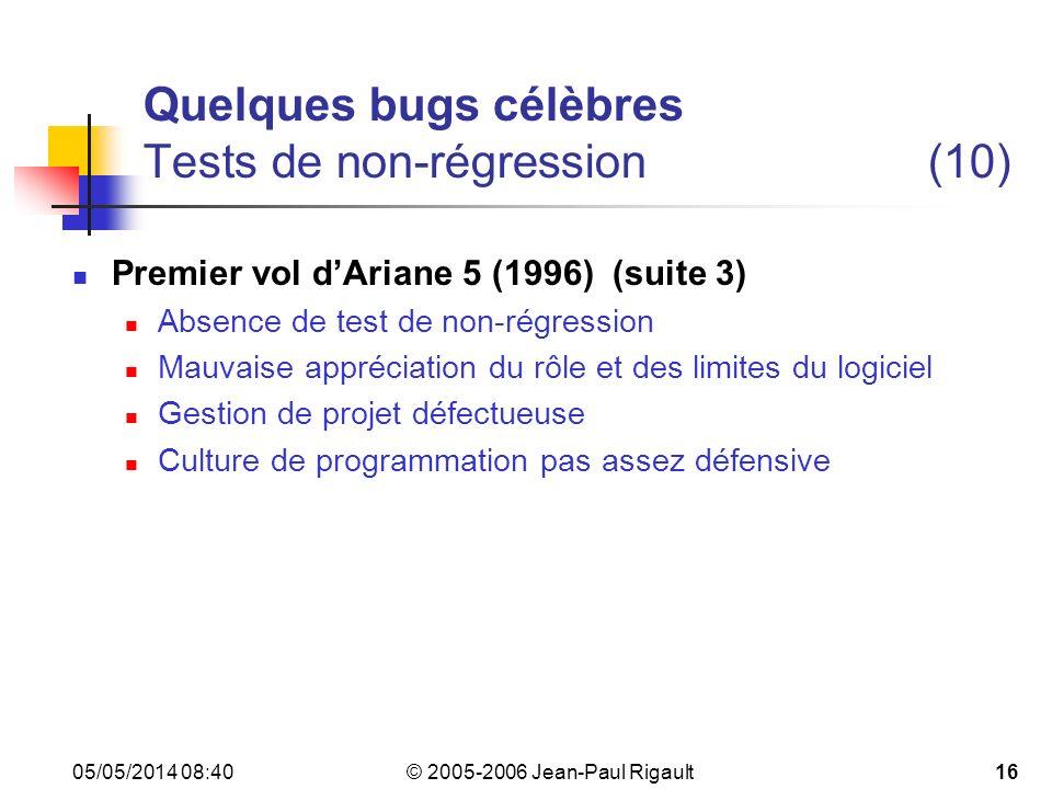 Quelques bugs célèbres Tests de non-régression (10)