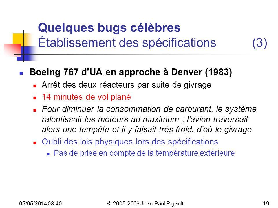 Quelques bugs célèbres Établissement des spécifications (3)