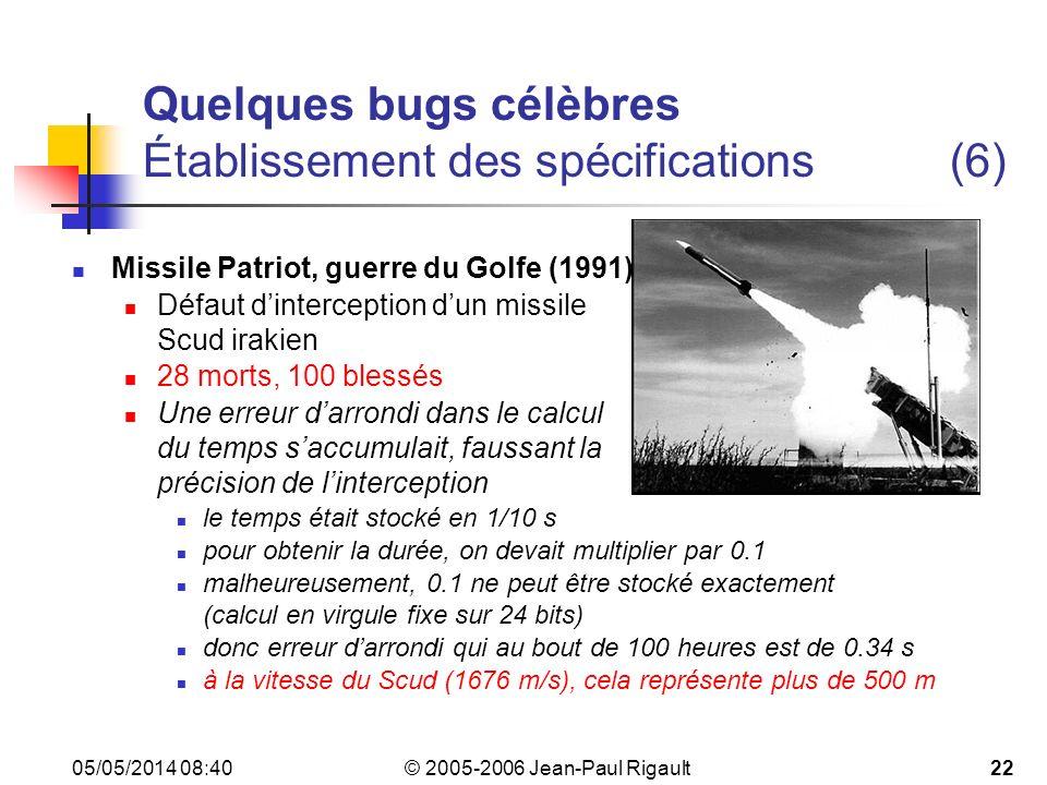Quelques bugs célèbres Établissement des spécifications (6)