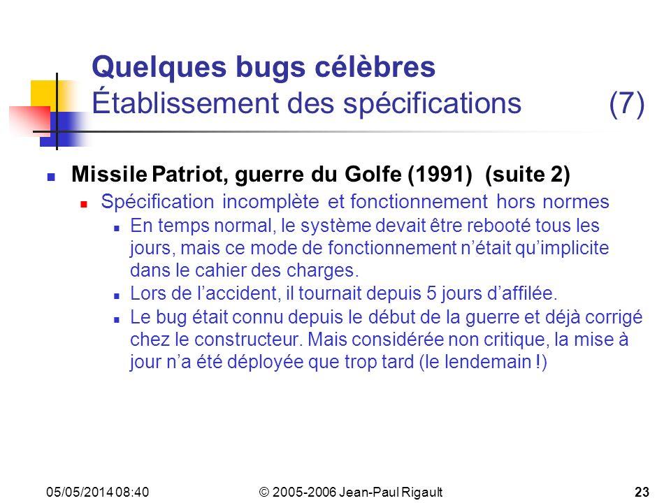 Quelques bugs célèbres Établissement des spécifications (7)