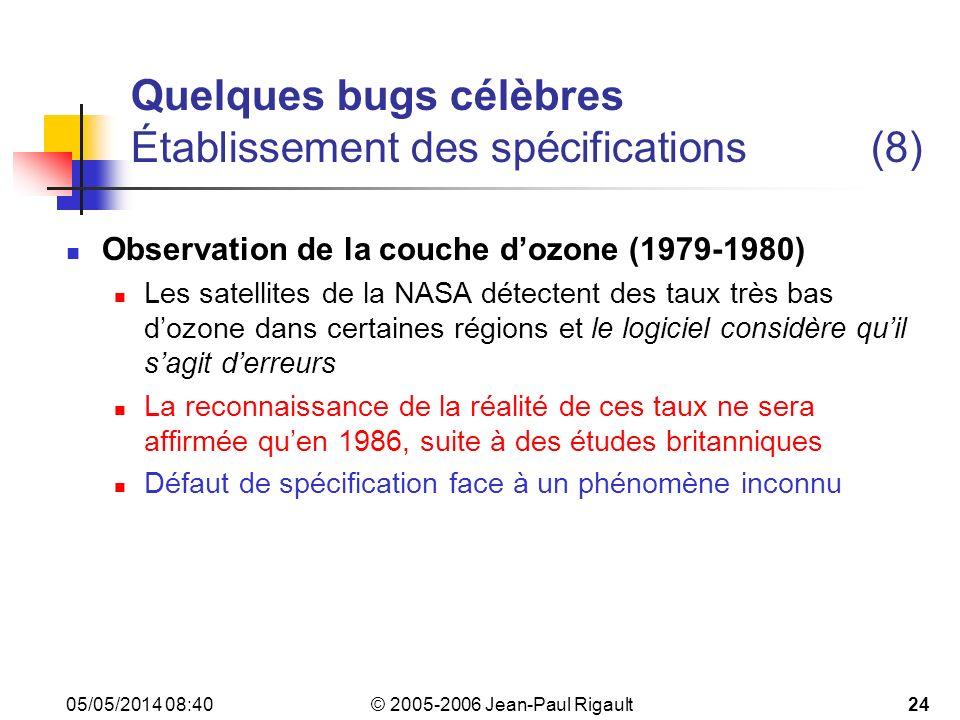 Quelques bugs célèbres Établissement des spécifications (8)
