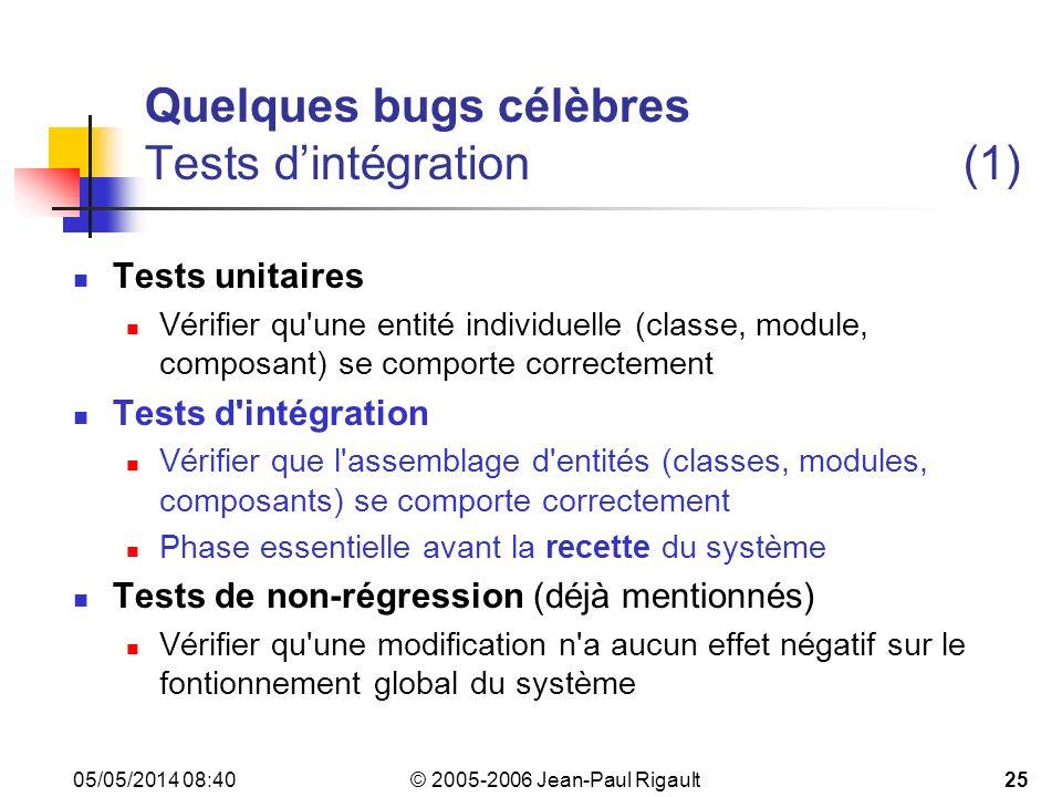 Quelques bugs célèbres Tests d'intégration (1)
