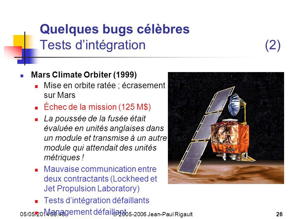 Quelques bugs célèbres Tests d'intégration (2)