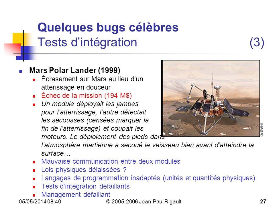 Quelques bugs célèbres Tests d'intégration (3)