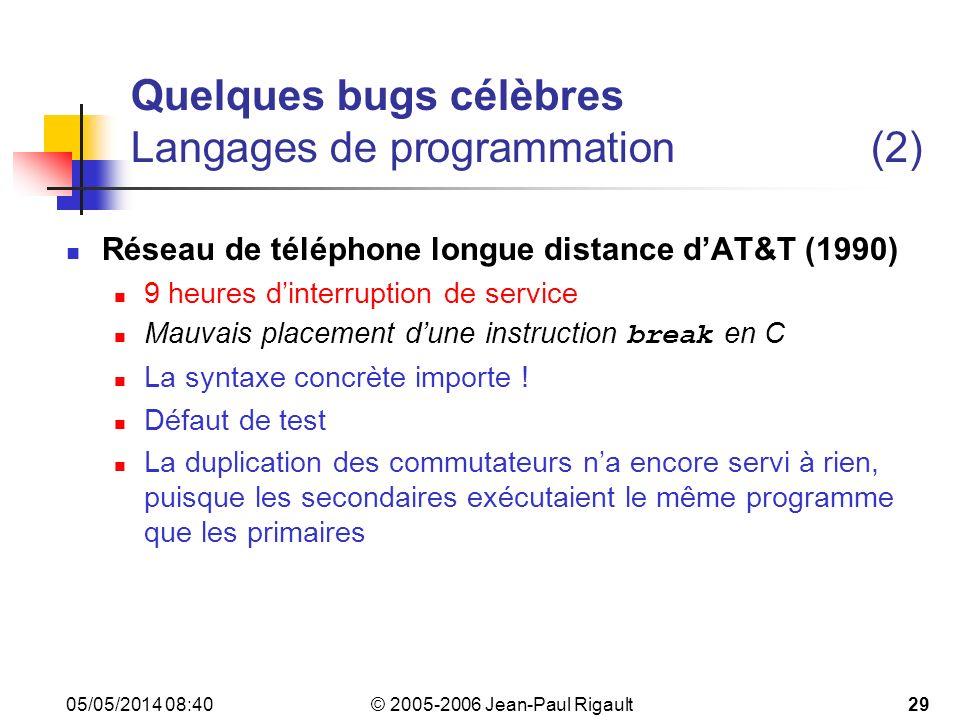 Quelques bugs célèbres Langages de programmation (2)