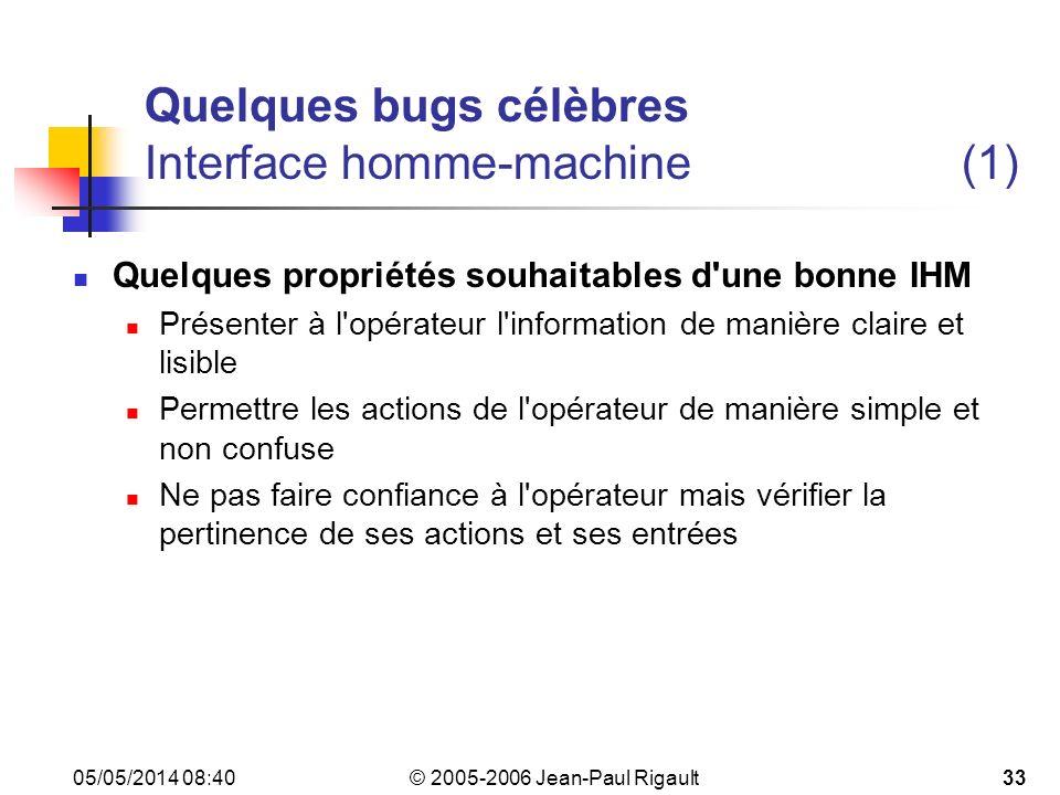 Quelques bugs célèbres Interface homme-machine (1)