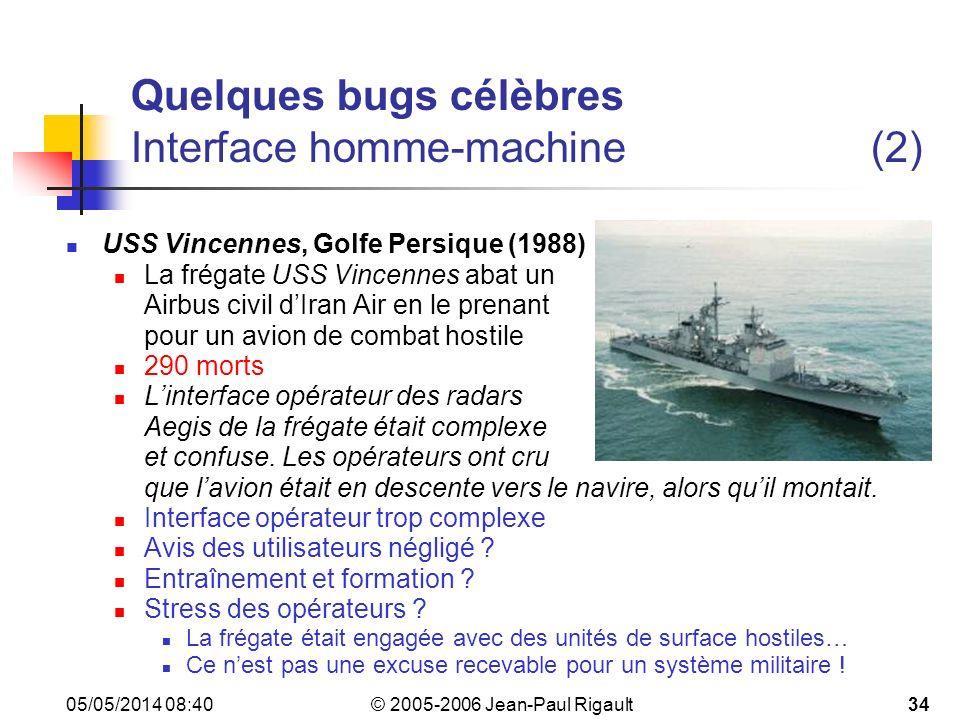 Quelques bugs célèbres Interface homme-machine (2)