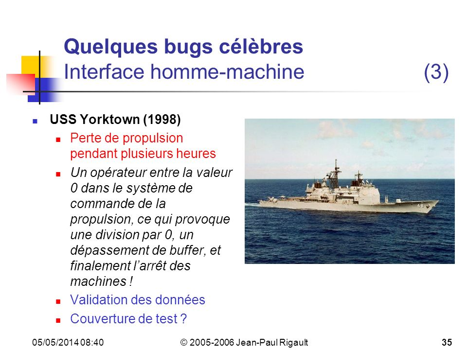 Quelques bugs célèbres Interface homme-machine (3)