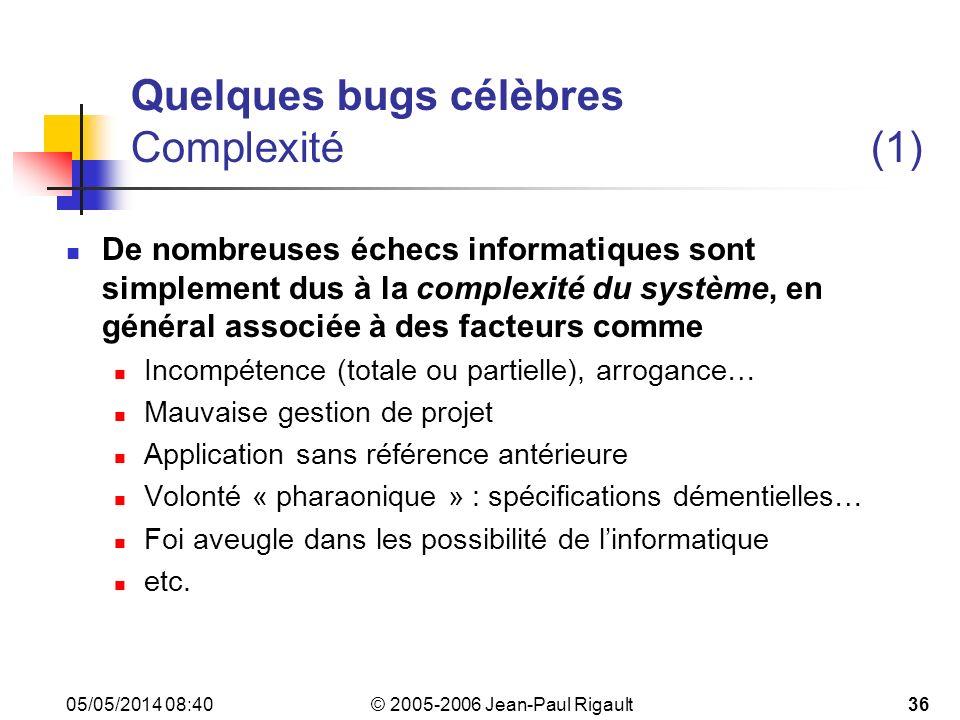 Quelques bugs célèbres Complexité (1)