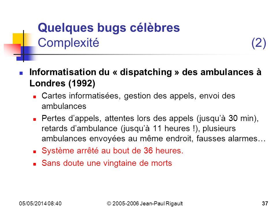Quelques bugs célèbres Complexité (2)