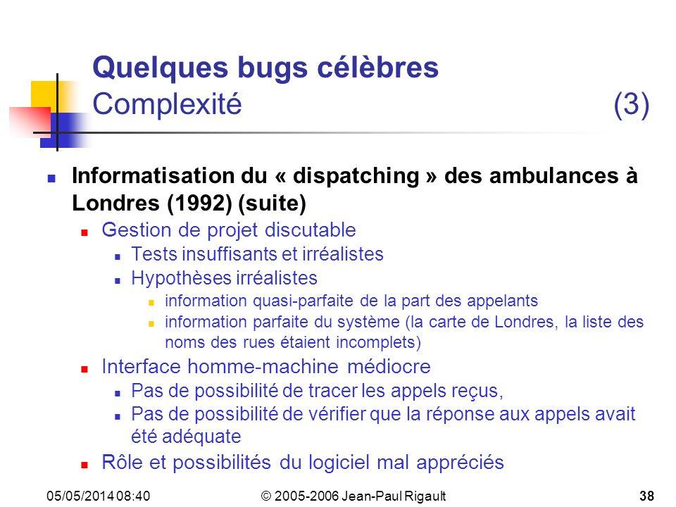 Quelques bugs célèbres Complexité (3)