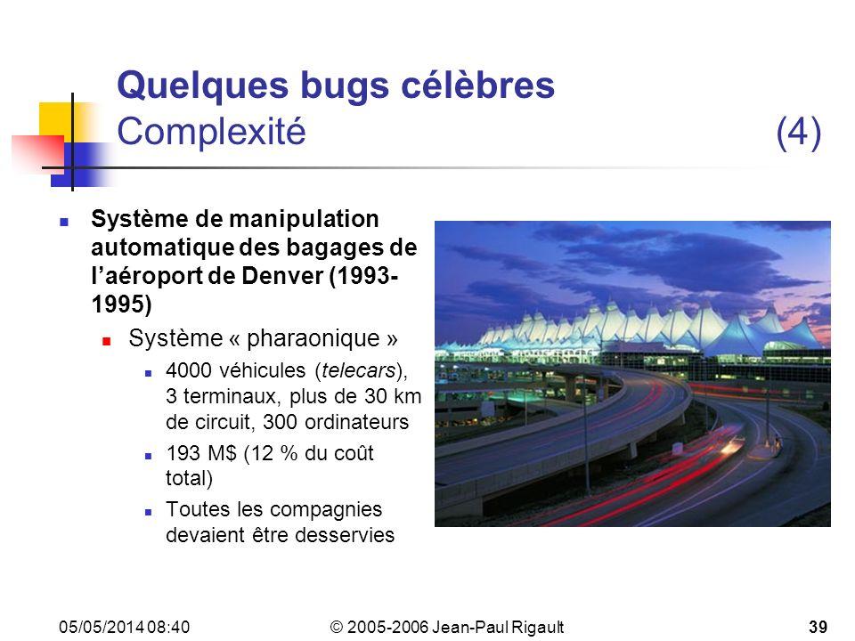 Quelques bugs célèbres Complexité (4)