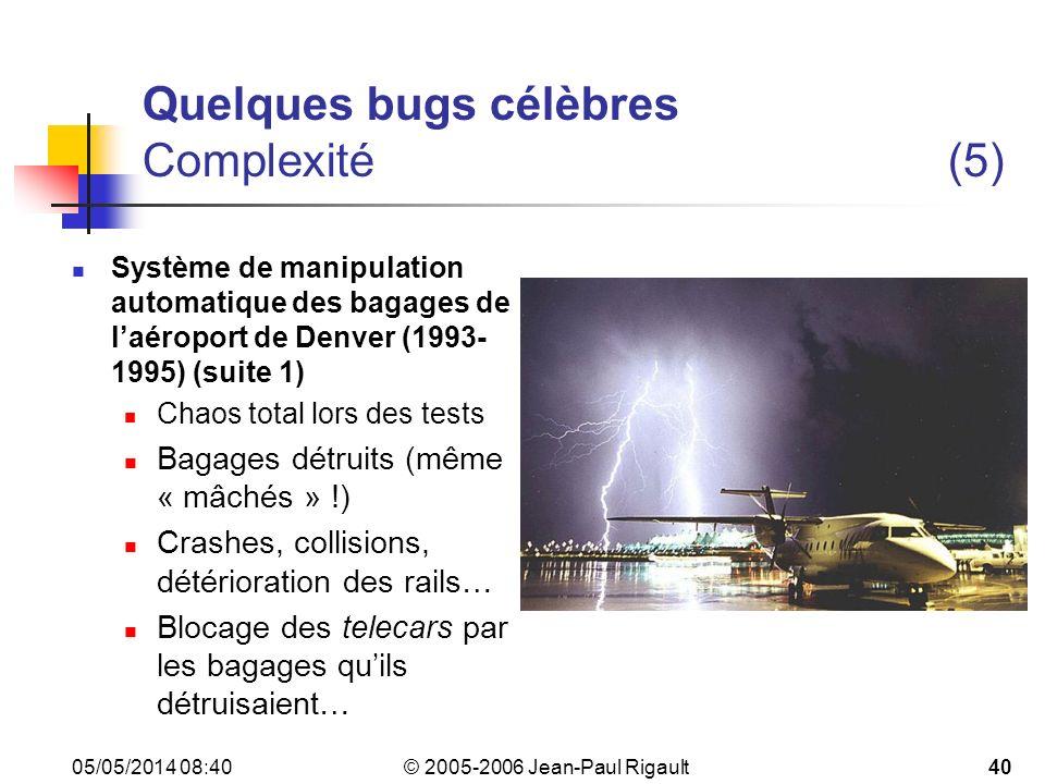 Quelques bugs célèbres Complexité (5)