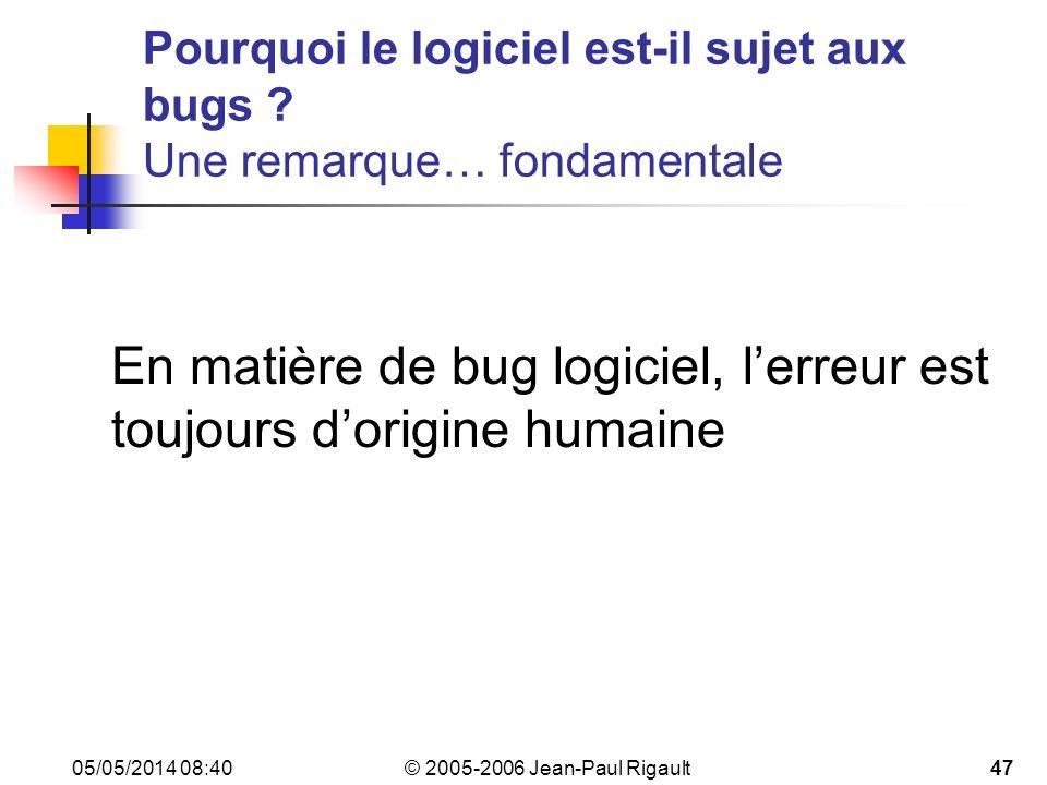 Pourquoi le logiciel est-il sujet aux bugs Une remarque… fondamentale
