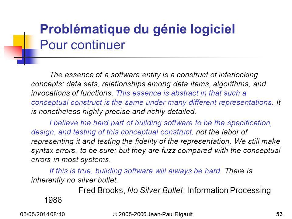 Problématique du génie logiciel Pour continuer
