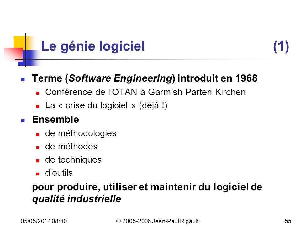 Le génie logiciel (1) Terme (Software Engineering) introduit en 1968