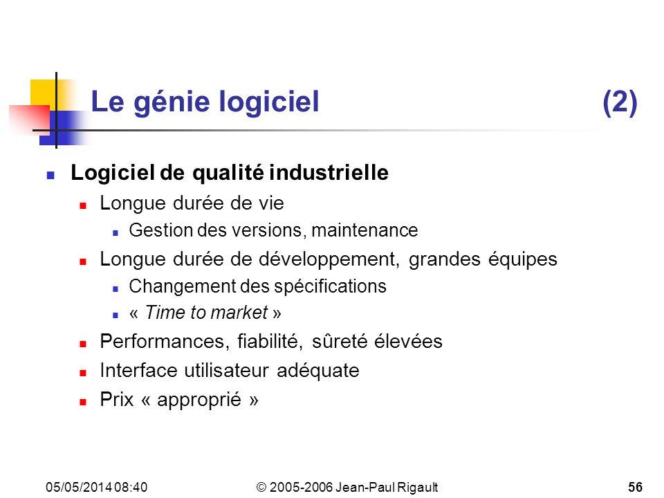 Le génie logiciel (2) Logiciel de qualité industrielle
