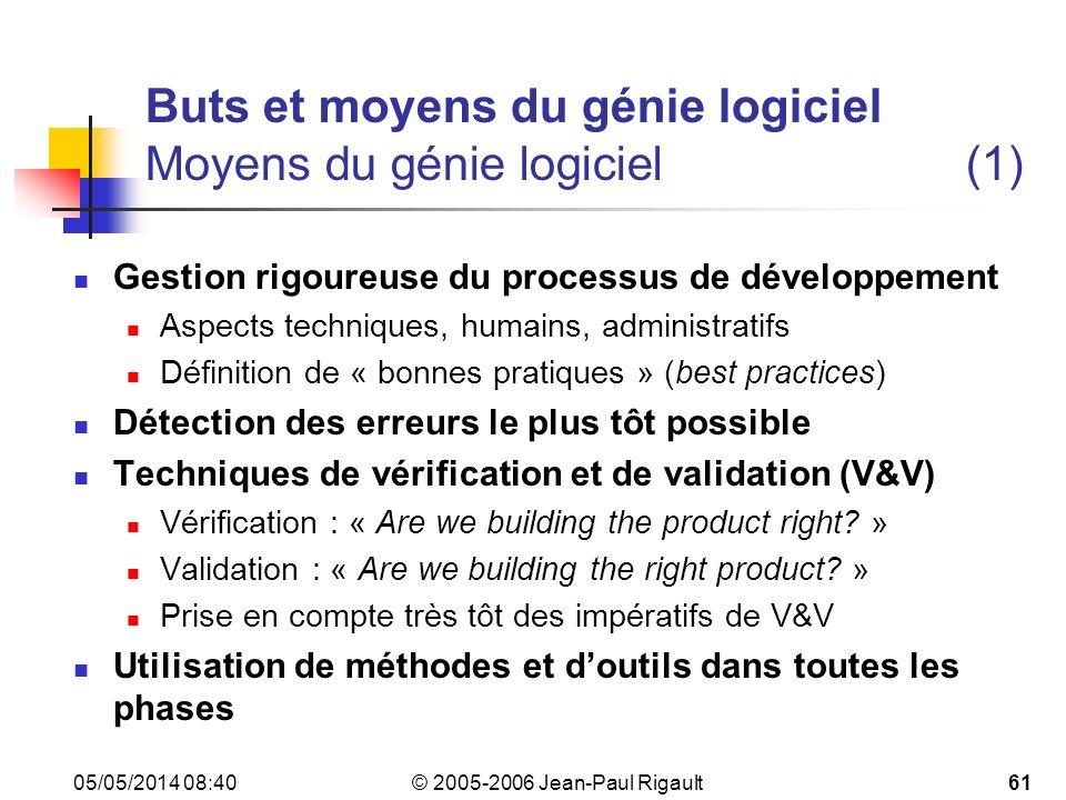 Buts et moyens du génie logiciel Moyens du génie logiciel (1)
