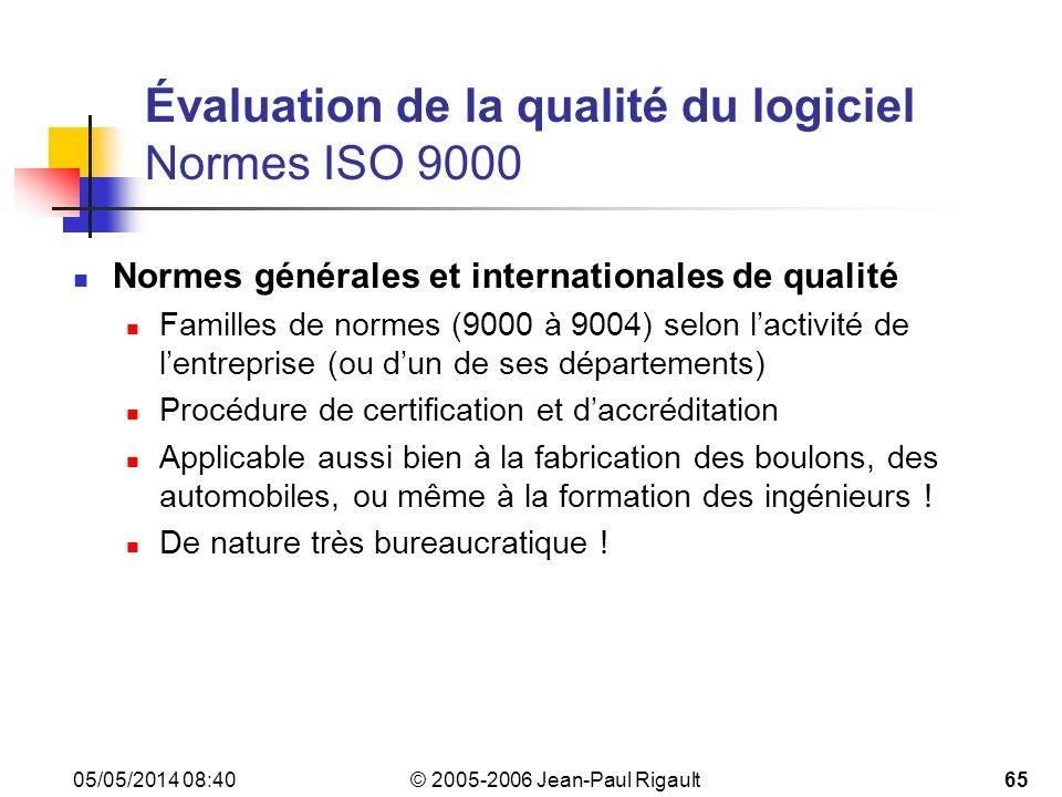 Évaluation de la qualité du logiciel Normes ISO 9000