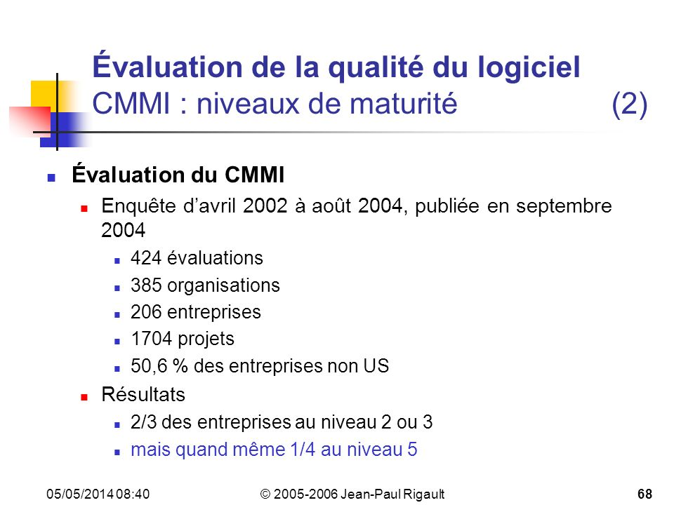 Évaluation de la qualité du logiciel CMMI : niveaux de maturité (2)
