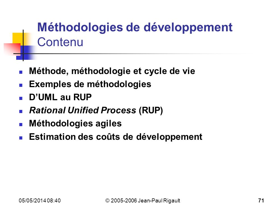 Méthodologies de développement Contenu