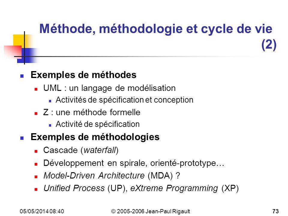 Méthode, méthodologie et cycle de vie (2)