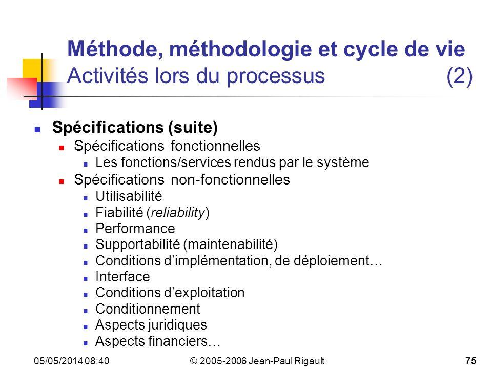 Méthode, méthodologie et cycle de vie Activités lors du processus (2)