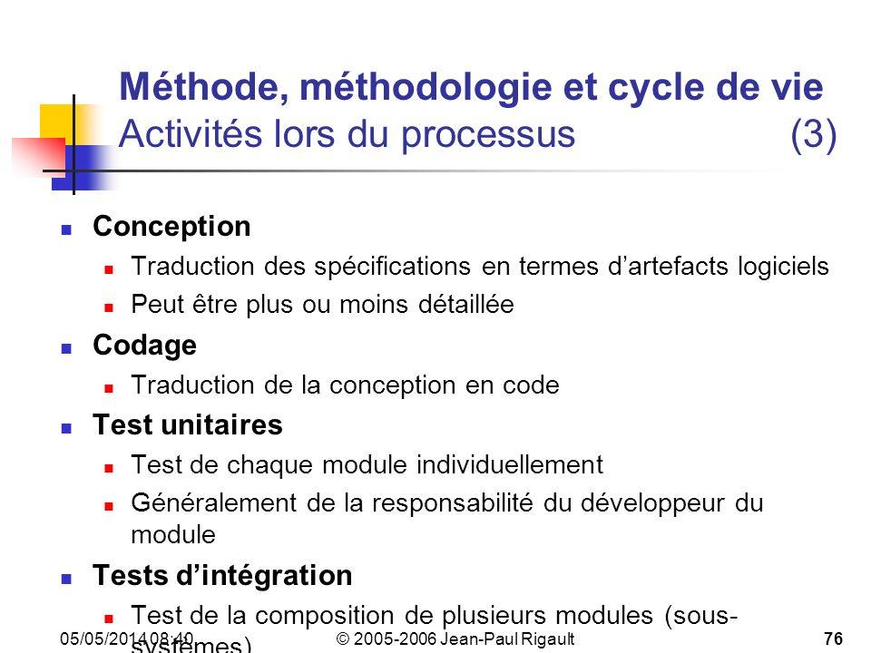Méthode, méthodologie et cycle de vie Activités lors du processus (3)