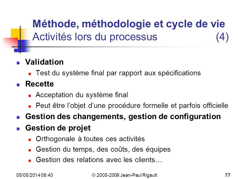 Méthode, méthodologie et cycle de vie Activités lors du processus (4)
