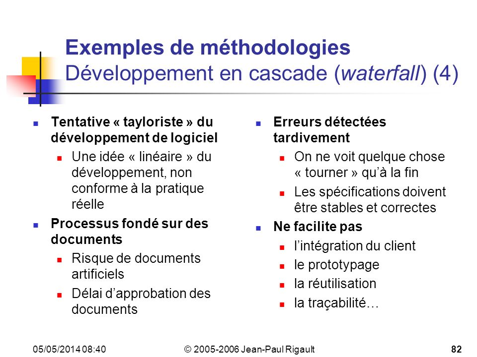 Exemples de méthodologies Développement en cascade (waterfall) (4)