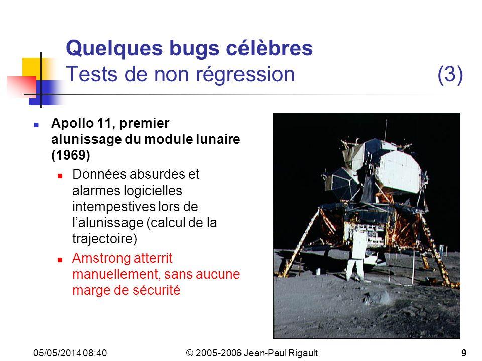 Quelques bugs célèbres Tests de non régression (3)