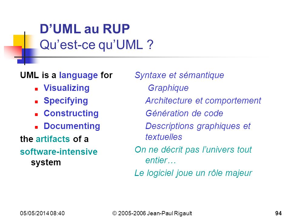 D'UML au RUP Qu'est-ce qu'UML