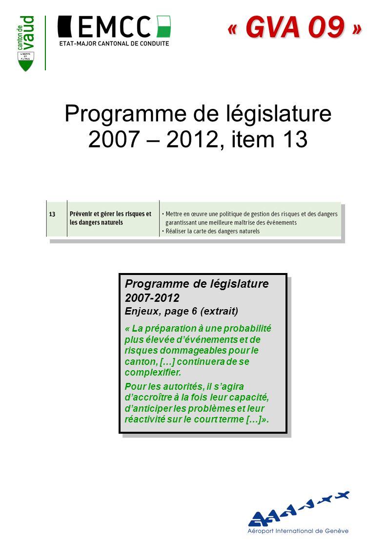Programme de législature 2007 – 2012, item 13