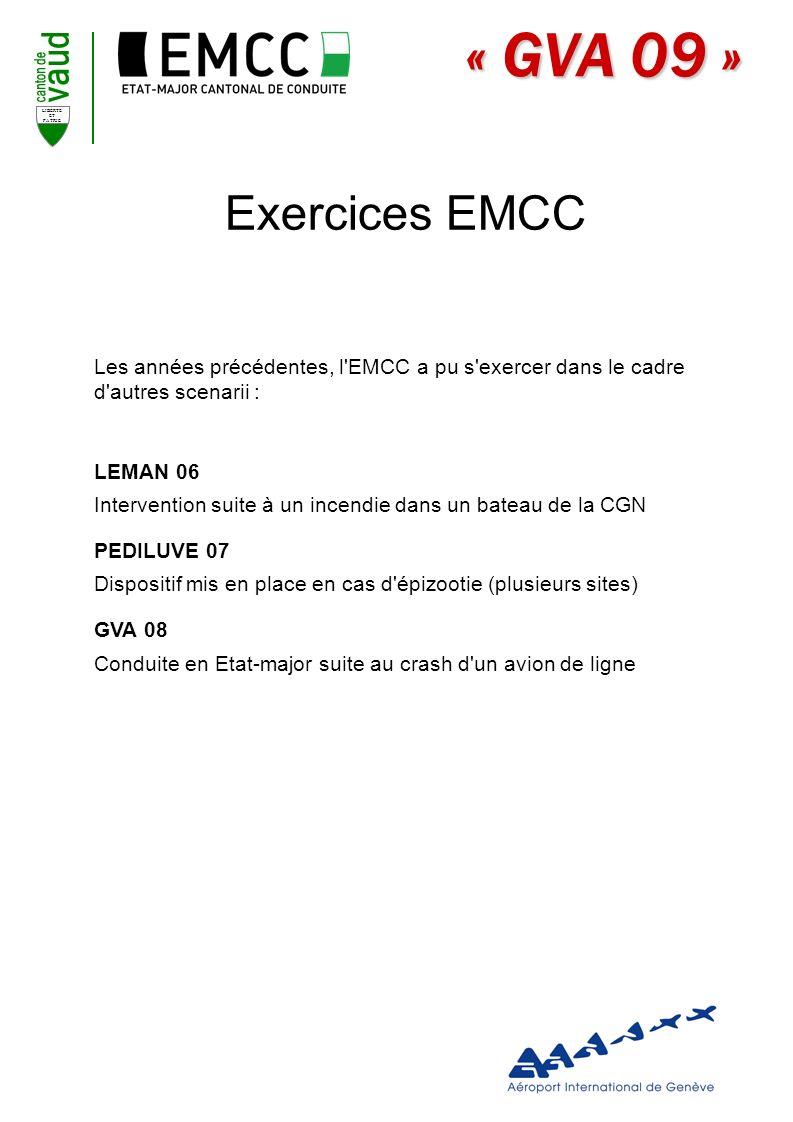 Exercices EMCC Les années précédentes, l EMCC a pu s exercer dans le cadre d autres scenarii : LEMAN 06.
