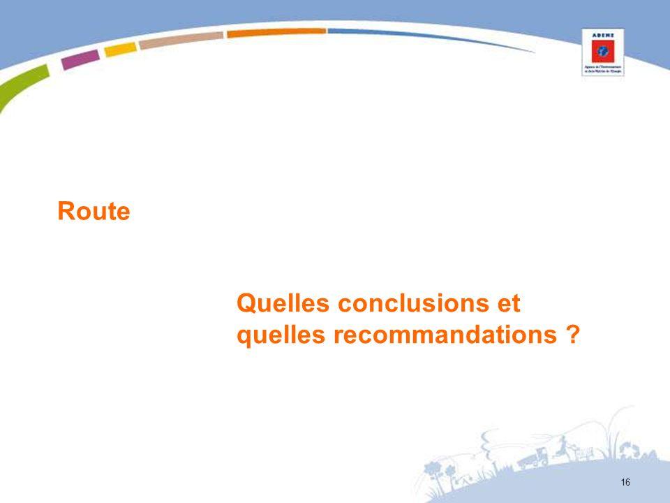 Route Quelles conclusions et quelles recommandations