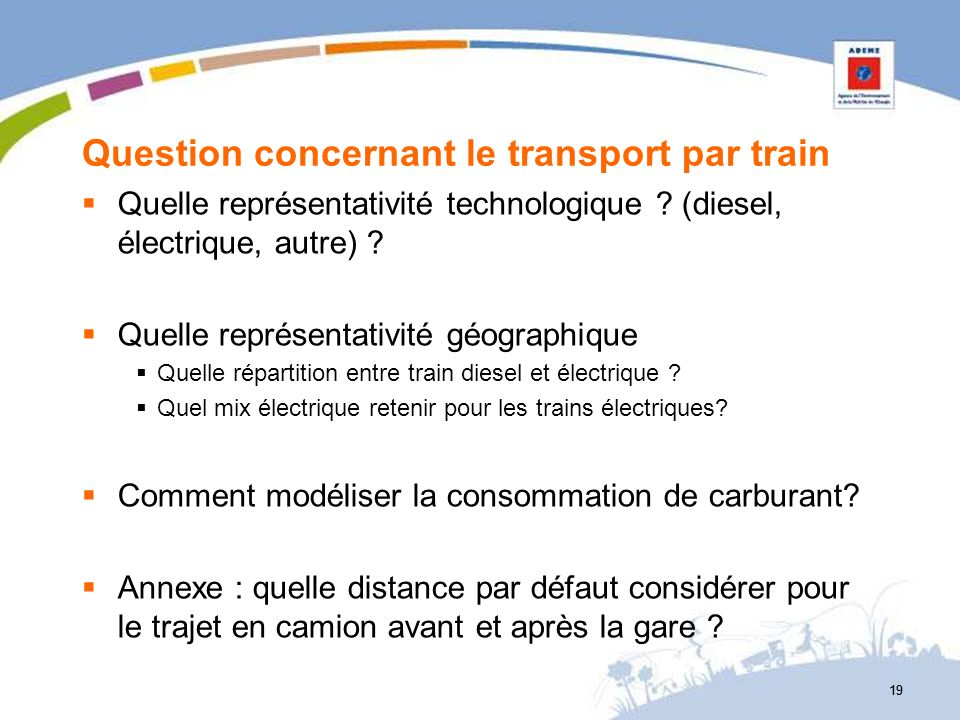 Question concernant le transport par train