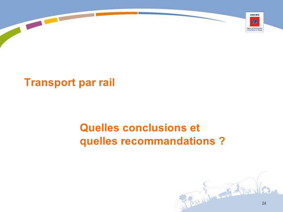 Transport par rail Quelles conclusions et quelles recommandations