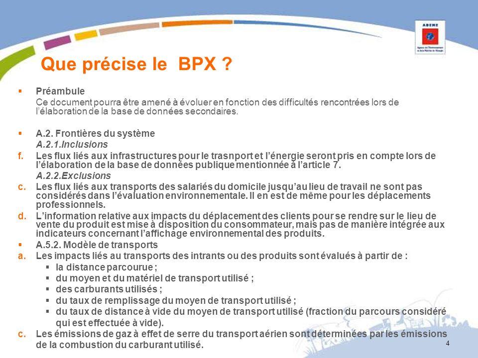 Que précise le BPX Préambule